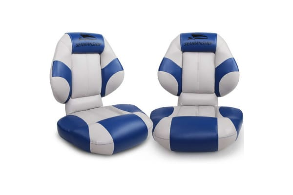 Set of 2 Folding Rotatable Boat Seats (Grey/Blue)