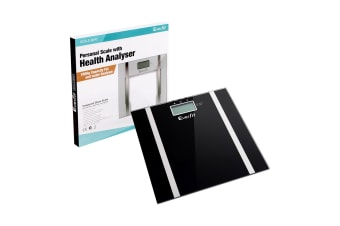 Electronic Digital Body Fat & Hydration Bathroom Glass Scale (Black)