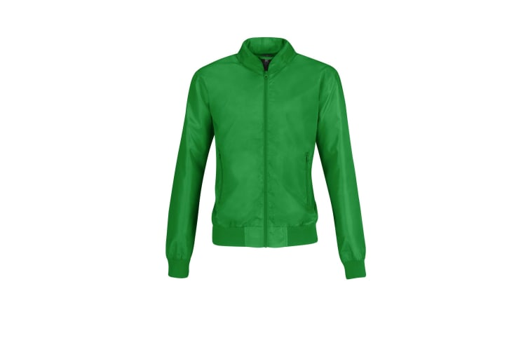 B&C Womens/Ladies Trooper Lightweight Bomber Jacket (Real Green/ Neon Orange) (XL)