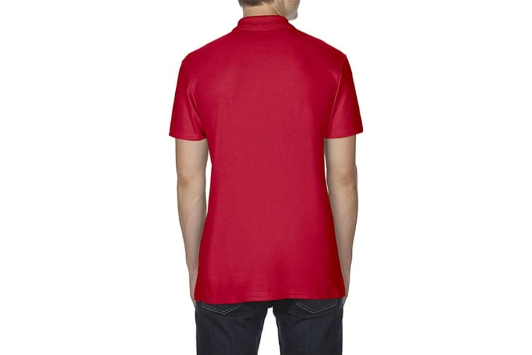 Gildan Softstyle Mens Short Sleeve Double Pique Polo Shirt (Red) (L)