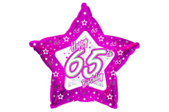 Creative Party Happy 65th Birthday Pink Star Balloon (Pink)