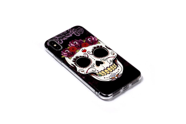 For iPhone XS Max Case Skull Pattern TPU Protective Back Cover