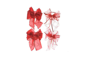 Kaemingk Assorted Bow Christmas Decorations (Pack Of 4) (Red)