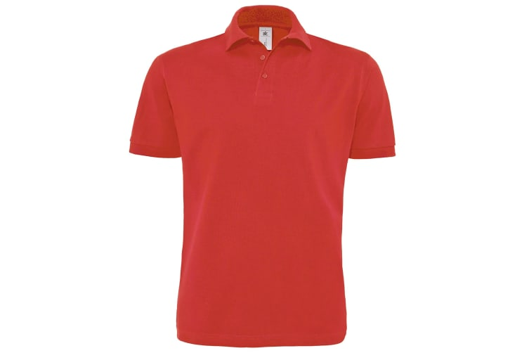 B&C Mens Heavymill Short Sleeve Cotton Polo Shirt (Red) (2XL)