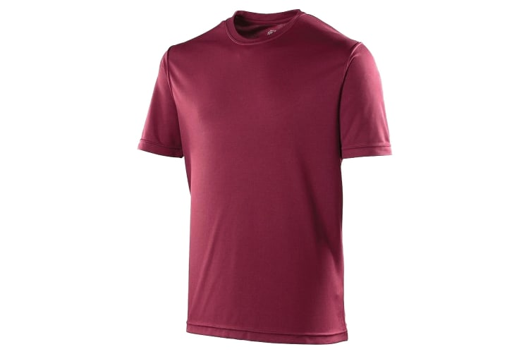 Just Cool Mens Performance Plain T-Shirt (Burgundy) (M)