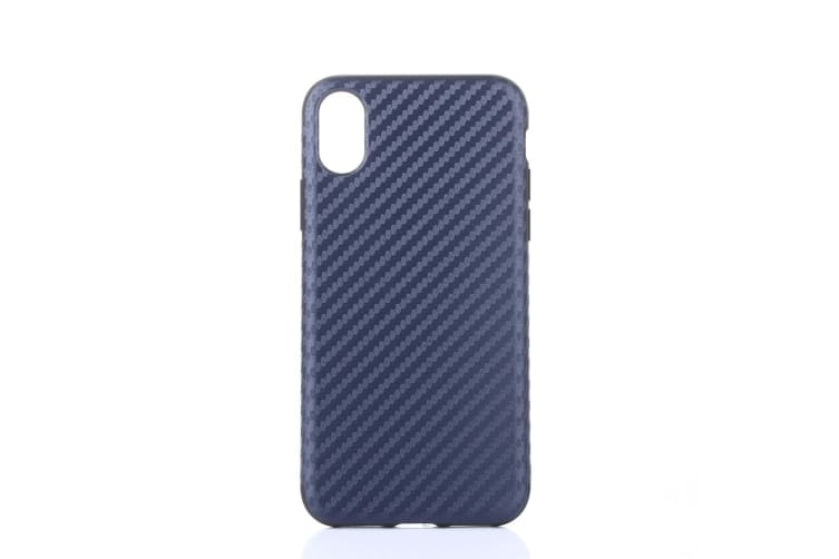 For iPhone XS X Case Elegant Carbon Fiber Textured Durable Protective Cover Blue