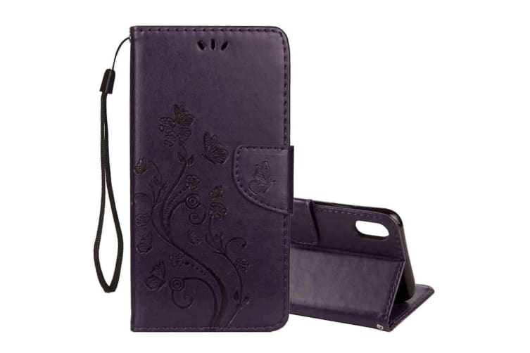 For iPhone XS MAX Case Embossed Butterfly Flip Leather Wallet Cover Dark Purple