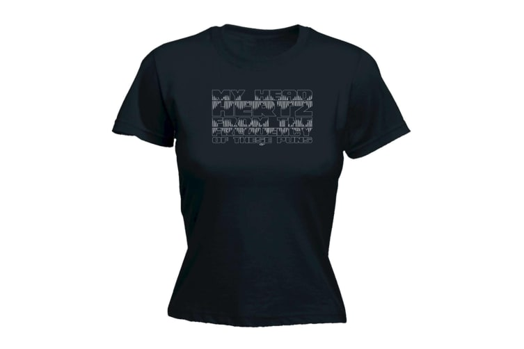 123T Funny Tee - My Head Hertz From The Frequancy Of Puns - (X-Large Black Womens T Shirt)