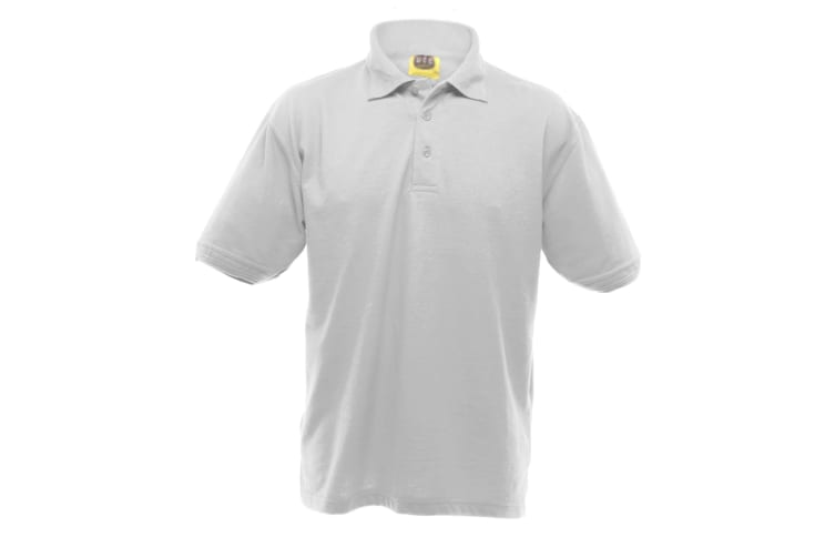 UCC 50/50 Mens Heavyweight Plain Pique Short Sleeve Polo Shirt (White) (5XL)