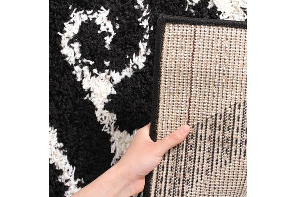 Damask Pattern Shag Rug White Black 230x160cm