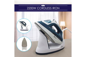 Pursonic Electric Cordless Steam Iron Portable Corded Cordless 2200W Blue White
