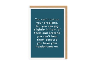 Ohh Deer Headphones Greeting Card (Blue) (One Size)