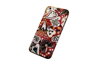 For iPhone 6S PLUS 6 PLUS Case Cute Heart-Patterned Fabric Protective Cover Red