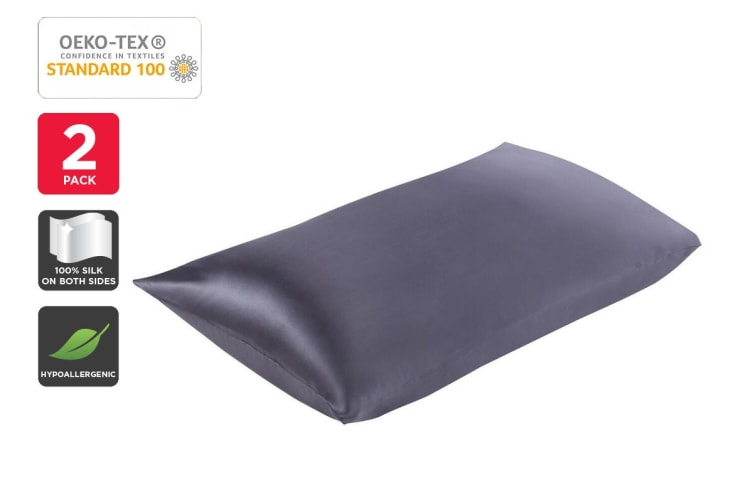 Set of 2 Trafalgar Luxury Two-Sided 100% Mulberry Silk Pillow Cases (Charcoal)