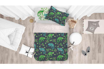 3D Cartoon Lizard Leaf Quilt Cover Set Bedding Set Pillowcases 101-King