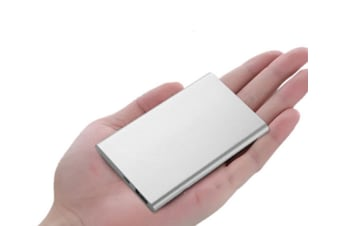 Select Mall Ultra-thin Mini Portable Mobile Power for IPhone, IPad, Galaxy, Android Phone, MP3 MP4 Player-Silver