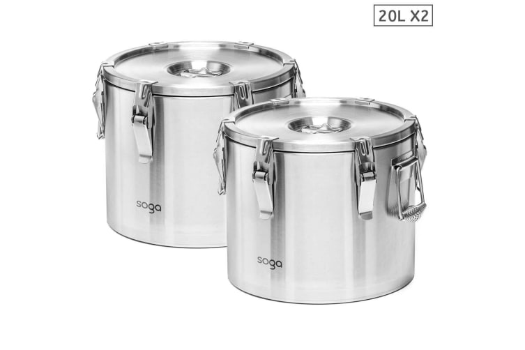 SOGA 2x 304 20L Stainless Steel Insulated Food Carrier Food Warmer