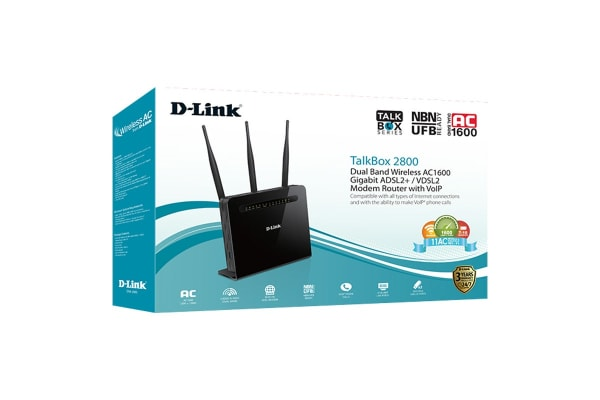 D-Link TalkBox2800 - Dual Band Wireless AC1600 Gigabit ADSL2+/VDSL2 Modem Router with VoIP (DVA-2800)
