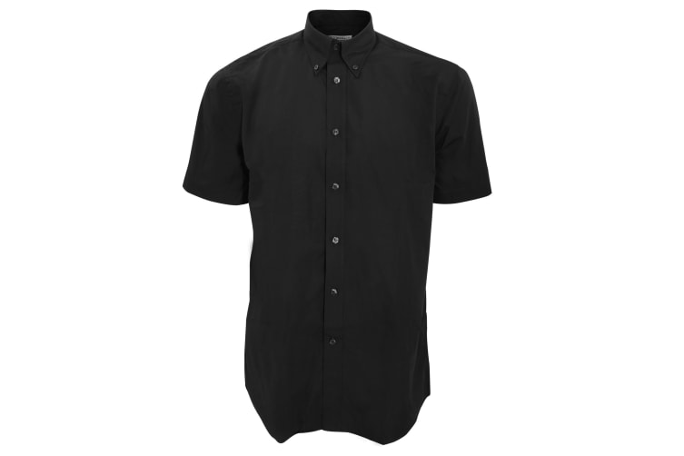 Kustom Kit Mens Workforce Short Sleeve Shirt / Mens Workwear Shirt (Black) (L)