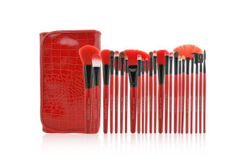 24Pcs Cosmetic Brushes And Multicolored Cosmetic Tools Red