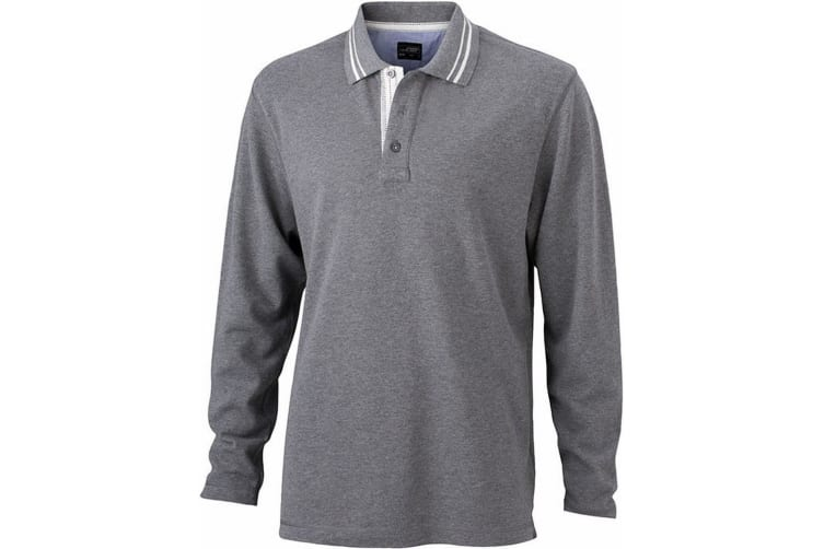 James and Nicholson Mens Long Sleeved Polo (Grey Melange/Off White) (XL)