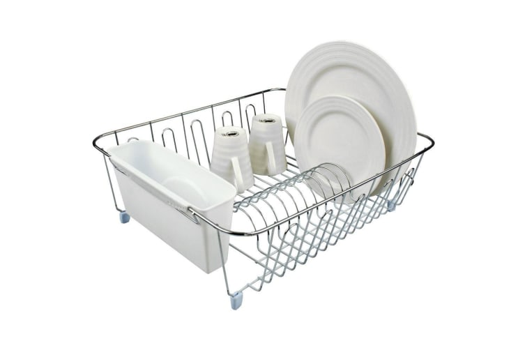 2x D.Line Dish Rack Drying Holder Tray Kitchen Cup Plates Cutlery Drainer White
