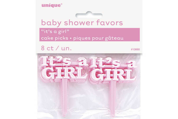 Unique Party Its A Boy/Girl Baby Shower Cake Picks (Pack Of 8) (Pink) (One Size)