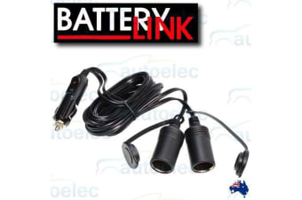BATTERY LINK 12V DOUBLE ADAPTER DUAL CIGARETTE LEAD EXTENSION CORD PLUG SPL21