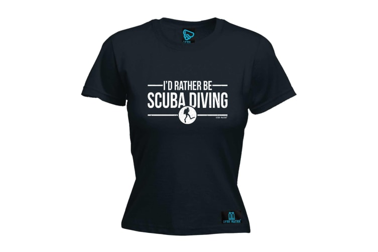 Open Water Scuba Diving Tee - Id Rather Be - (Small Black Womens T Shirt)