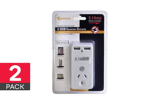 2-Pack Sansai 2.1A Power Adapter with 2 USB Outlets & Surge Protect (PAD-202USB)