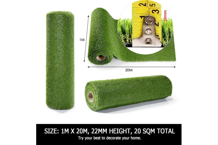 Synthetic Artificial Grass Green Turf 20 SQM - 22mm