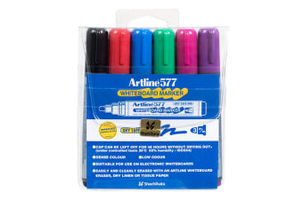 6pc Artline 577 5mm Bullet Nib Office Whiteboard Marker Assorted Colours Wallet
