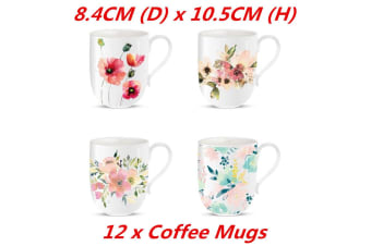 Coffee Mug Water Color Flower Ceramic Mugs Drinking Tea Cup New Bone 4452