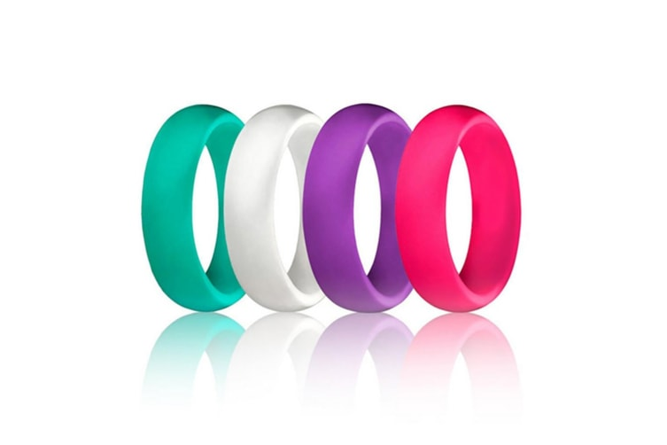 4 pcs Women Silicone Wedding Ring Bands Active Athletes Comfortable Fit Non-toxic Antibacterial 5