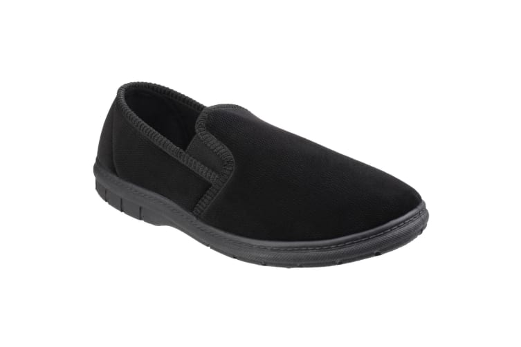 Fleet & Foster Mens John Twin Gusset Memory Foam Slipper (Black) (10 UK)