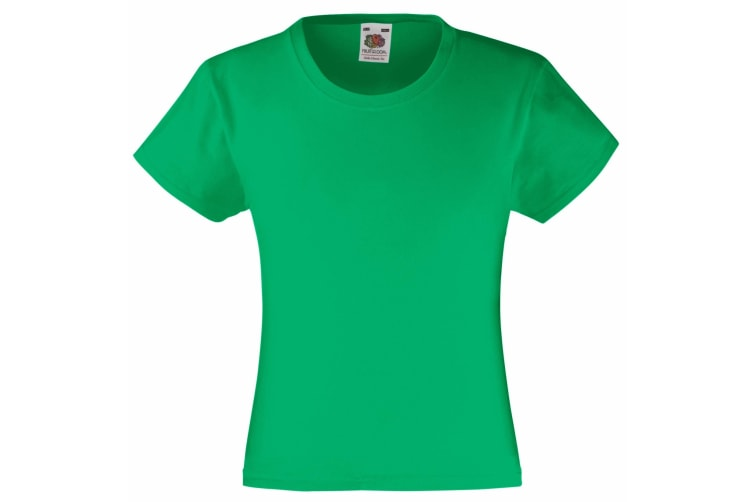 Fruit Of The Loom Girls Childrens Valueweight Short Sleeve T-Shirt (Pack of 2) (Kelly Green) (5-6)