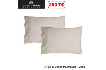 A Pair of 250tc Queen Pillowcases Linen by Logan and Mason
