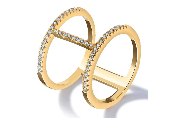Gorgeous Monica 18K Yellow Gold Plated Fashion Ring-Gold/Clear Size US 7
