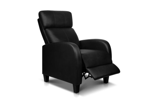 Faux Leather Armchair Recliner (Black)