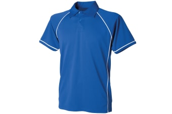 Finden & Hales Kids Unisex Piped Performance Sports Polo Shirt (Royal/White) (5-6)