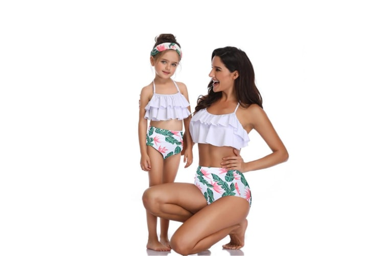 High Waisted Bathing Suit Mommy And Daughter Swimwear Bikini Sets - 4 S