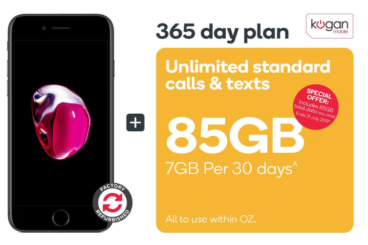 Apple iPhone 7 Refurbished (32GB, Black) + Kogan Mobile Prepaid Voucher Code: SMALL (365 Days | 7GB Per 30 Days)