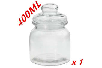 1 x Clear 400ml Glass Jars Multi-purpose Storage Jar Glass Lid Candle Candy