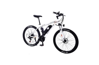 "AKEZ 350W 36V Mountain Motorized Bicycle Road Electric Bike eBike Alloy Frame 26"" White"