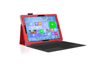 "Microsoft Surface Pro 6 / Pro 5 / Pro 4 (12.3"") Slim Folio Flip Case by MEZON – Compatible with Type Cover Keyboard – With Screen Protector and Stylus – Red"