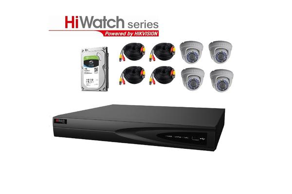 Hiwatch TVI Analog THK-2MF4T4-1T/D-E Security Kit All-In-One 4 channels Surveillance System