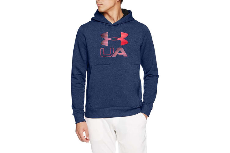 Under Armour Men's Threadborne Fleece Graphic Hoodie (True Ink/Red, Size Medium)