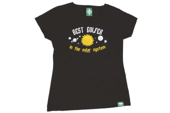 Out Of Bounds Golf Tee - Best Golfer In The Solar System - (Small Black Womens T Shirt)