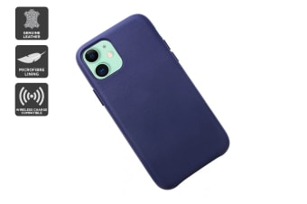 iPhone 11 Premium Leather Case (Navy)