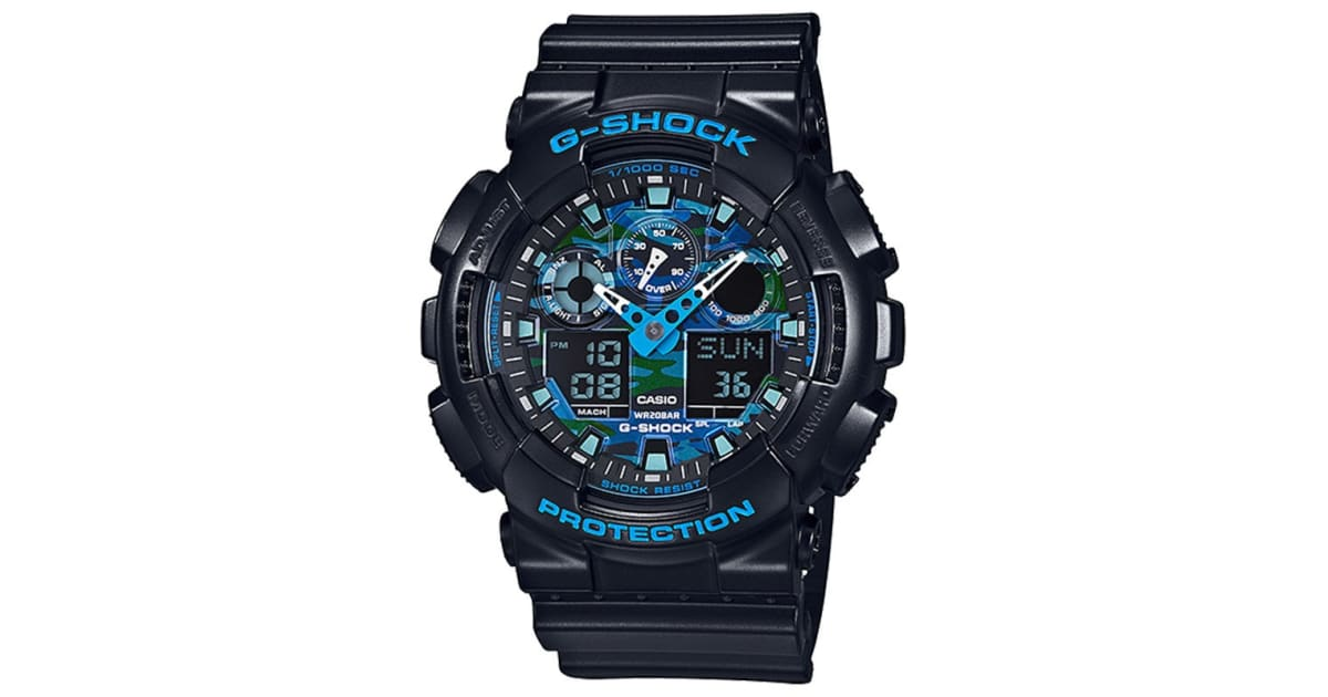 new arrival 775bf 0b035 Casio G-Shock Ana-Digital Watch - Black/Blue (GA100CB-1A) | Watches